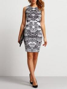 White Shutter Lacy Sleeveless Abstract Print Slim Dress