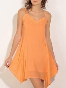 Orange Tie Back Irregular Hem Spaghetti Strap Shift Dress