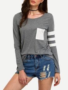 Contrast Pocket Striped T-Shirt