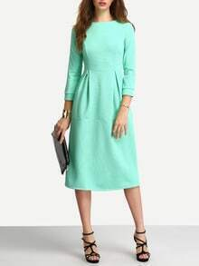 Green Half Sleeve A Line Ankle Length Dress