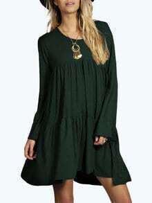 Dark Green Round Neck Pleated Babydoll Dress
