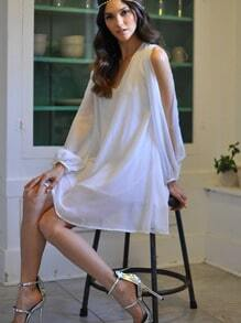 V Neck Split Sleeve Lovely Adorable Chiffon Styles White Dress