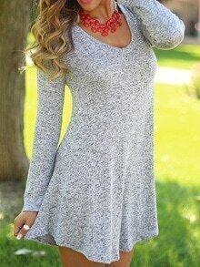 Grey Scoop Neck T-shirt Dress