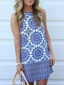 Blue White Textured Sleeveless Vintage Beauty Print Dress