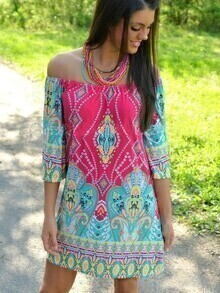 Multicolor Boat Neck Tribal Print Dress