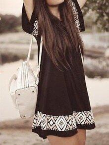 Black Short Sleeve Embroidered A-line Dress