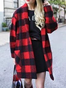 Black Red Long Sleeve Plaid Coat