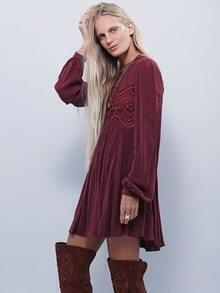 Burgundy Long Sleeve Hollow Dress