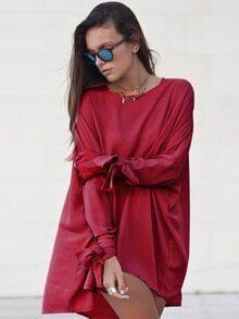 Burgundy Round Neck Casual Dress