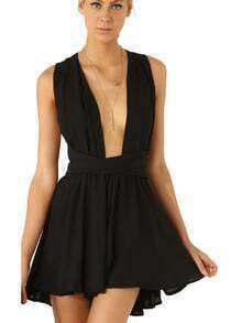 Black Sleeveless Cross Back Jumpsuit