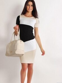 White Color Block Sheath Dress