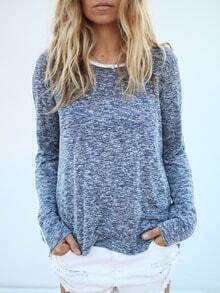 Blue Round Neck Color Blcok Trims T-Shirt