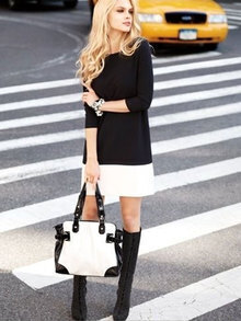 Black Round Neck Contrast White Hem Dress