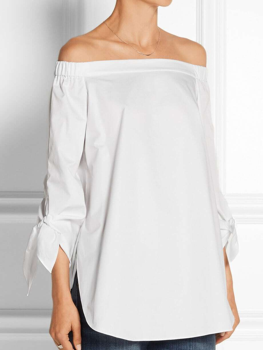 White Long Sleeve Style Off The Shoulder Blouse EmmaCloth-Women ...