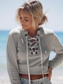 Grey Lace Up Neck Crop Sweatshirt