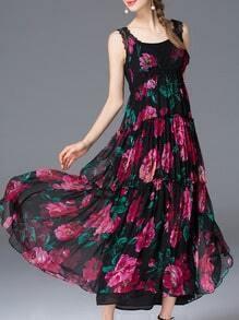 Black Strap Pleated Print Maxi Dress