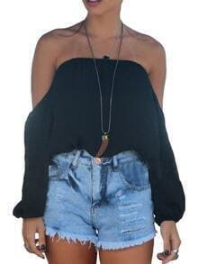 Black Long Sleeve Off Shoulder Blouse