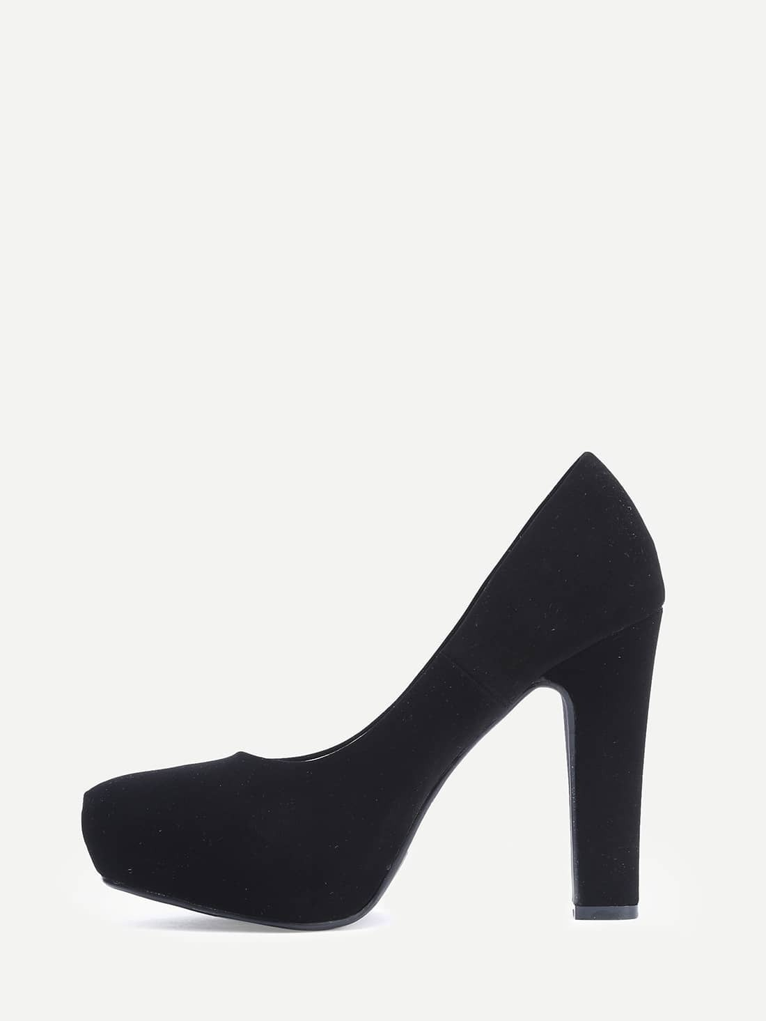 Black Platform Pumps Thick Heel