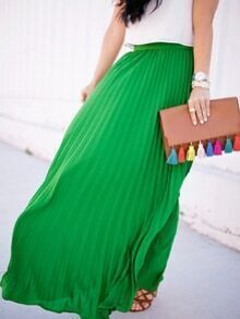 Green High Waist Pleated Maxi Skirt