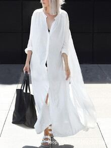 White Split Shirt Dress