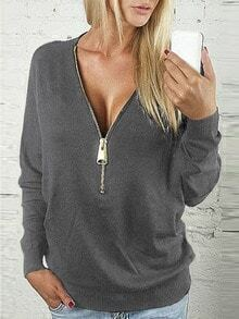 Grey Zipper V Neck T-Shirt