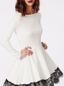 White Contrast Lace Hem Flare Dress