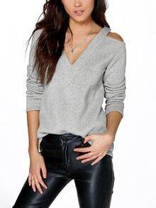 Grey Cold Shoulder T-Shirt