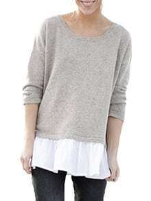 Grey Round Neck Color Block Ruffle T-Shirt