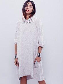 Oatmeal Long Sleeve Casual Dress