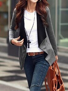 Grey Long Sleeve Asymmetric Coat