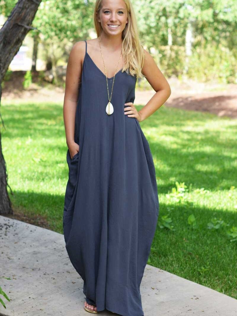 Navy Spaghetti Strap Maxi Dress With Pockets EmmaCloth-Women Fast ...