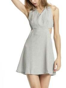 Grey Criss Cross Back Backless Slim Dress