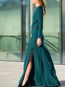 Green Teal Promdress Long Sleeve Backless Split Maxi Dress