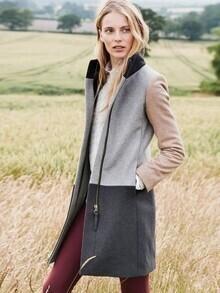Grey Long Sleeve Pockets Color Block Coat