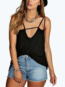 Black Backless Spaghetti Strap Camis Top