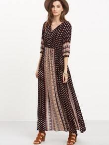 Black Half Sleeve Vintage Print Split Maxi Dress