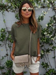 Green Round Neck Casual Loose T-Shirt