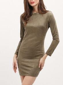 Green Long Sleeve Crew Neck Bodycon Dress