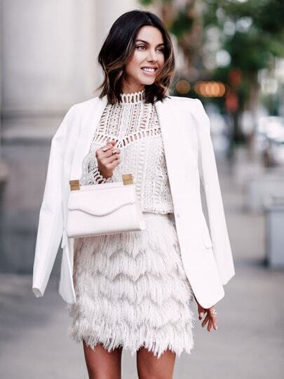 Beige Faux Fur Feather A Line Skirt