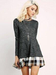 Grey Long Sleeve Contrast Plaid Dress