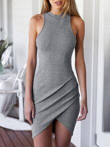 Grey Crew Neck Sleeveless Ribbed Wrap Dress
