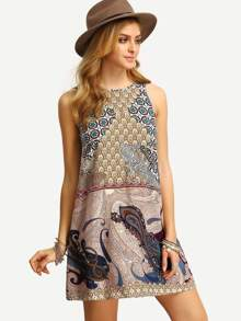 Multicolor Sleeveless Vintage Print V Back Dress