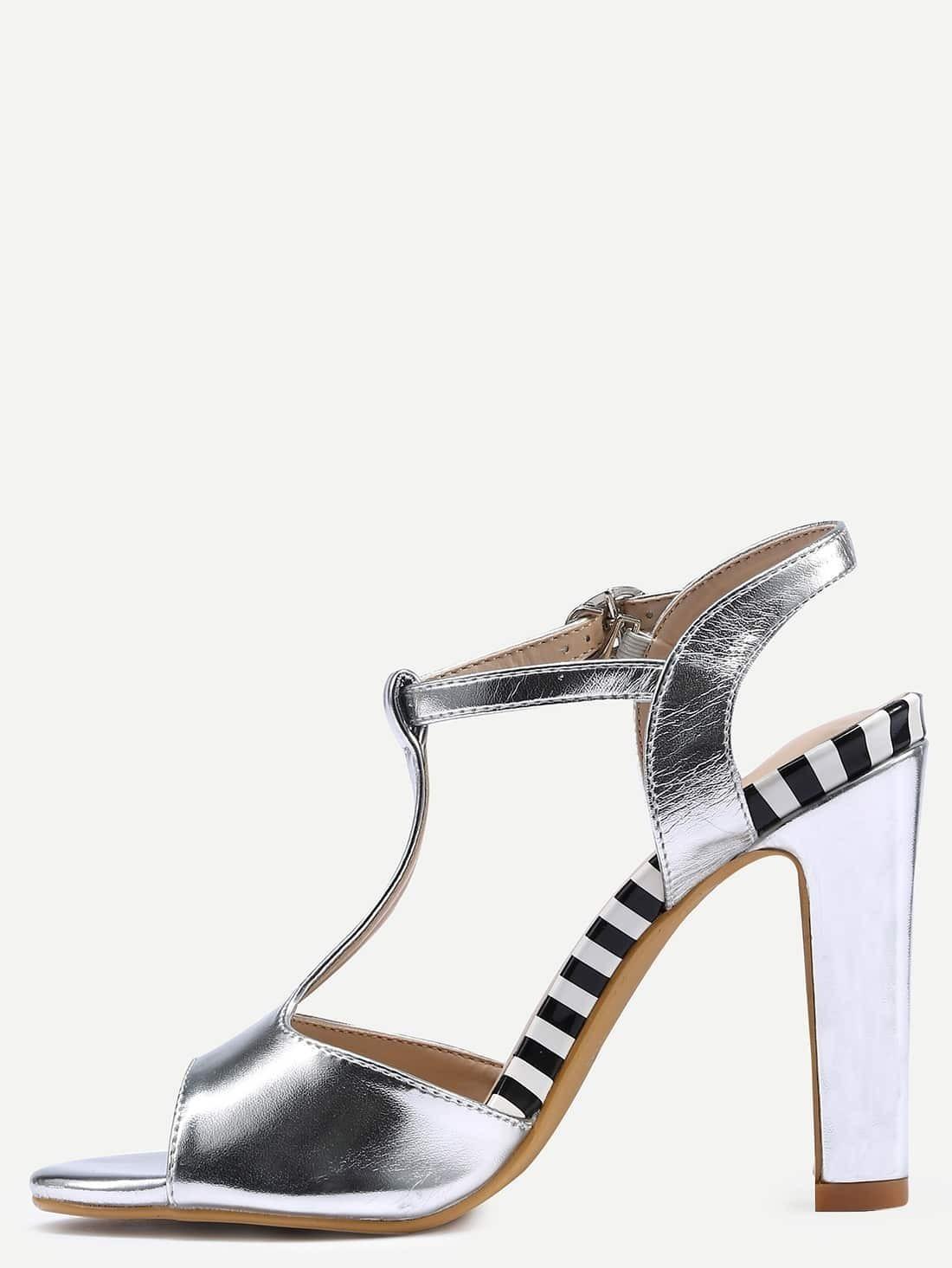Silver T Strap High Heels