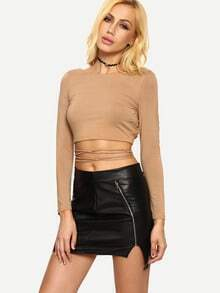 Dark Nude Long Sleeve Crisscoss Crop T-shirt