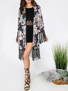 Multicolor Long Sleeve Floral Print Tassel Kimono