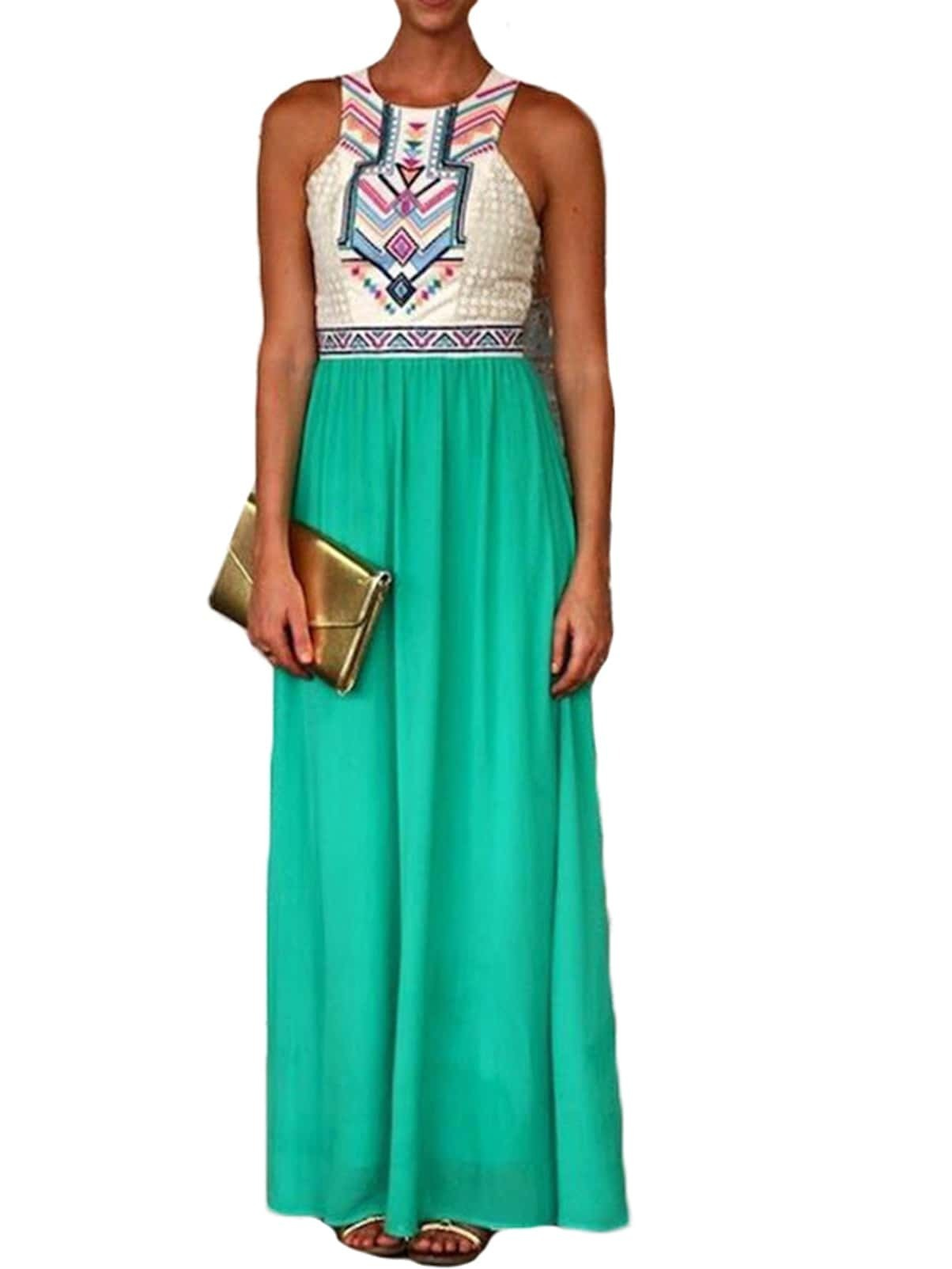 Green Puffball Broderie Sleeveless Tribal Embroidered Color Block ...