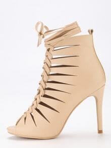Apricot Strappy Peep Toe Lace Up High Heels