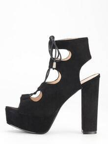 Black Lace-Up Chunky Block Heel Sandals