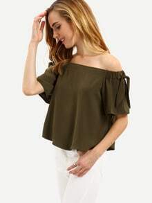 Army Green Off The Shoulder Bow Blouse