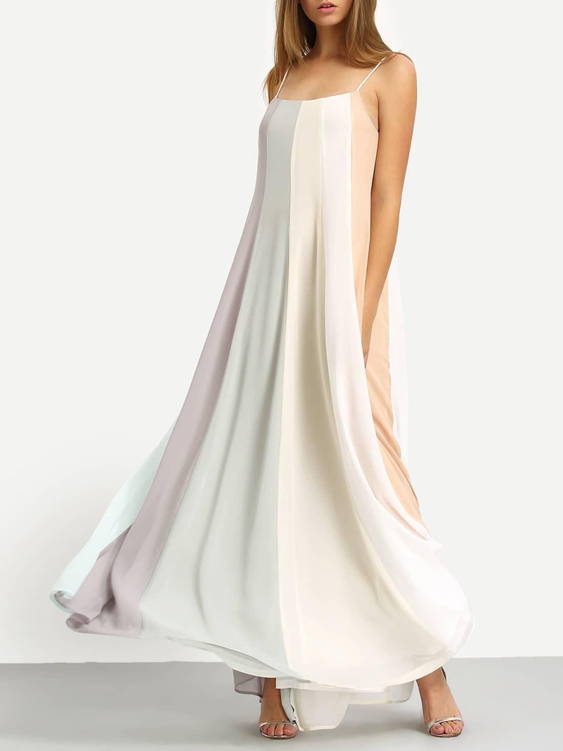 Multicolor Patchwork Spaghetti Strap Maxi Dress EmmaCloth-Women ...